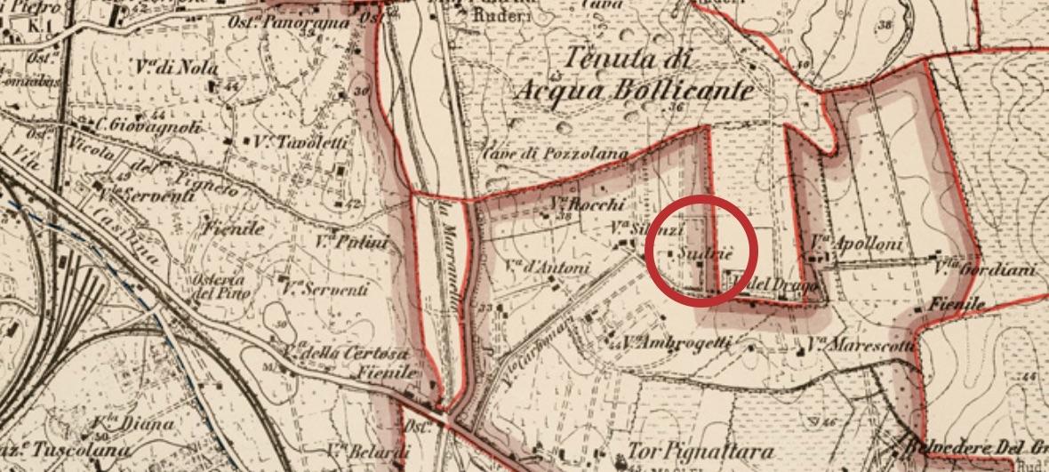 Dettaglio Mappa Agro Romano dell'Istituto Geografico Militare del 1904
