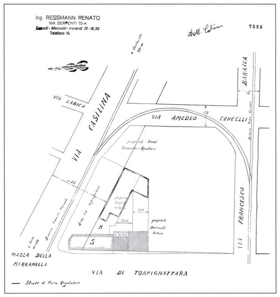 Area del ritrovamento: si vede chiaramente l'anello ferroviario della linea Roma-Fiuggi