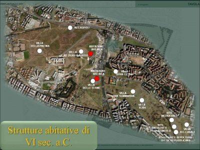 Ricostruzione degli insediamenti nell'area nel VI Secolo D.C.