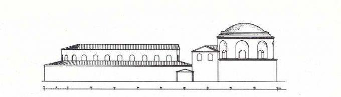 Ricostruzione della basilica (vista laterale)