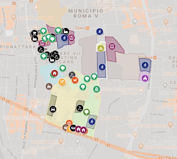 Mappa degli usi del Comprensorio Archeologico ad Duas Lauros