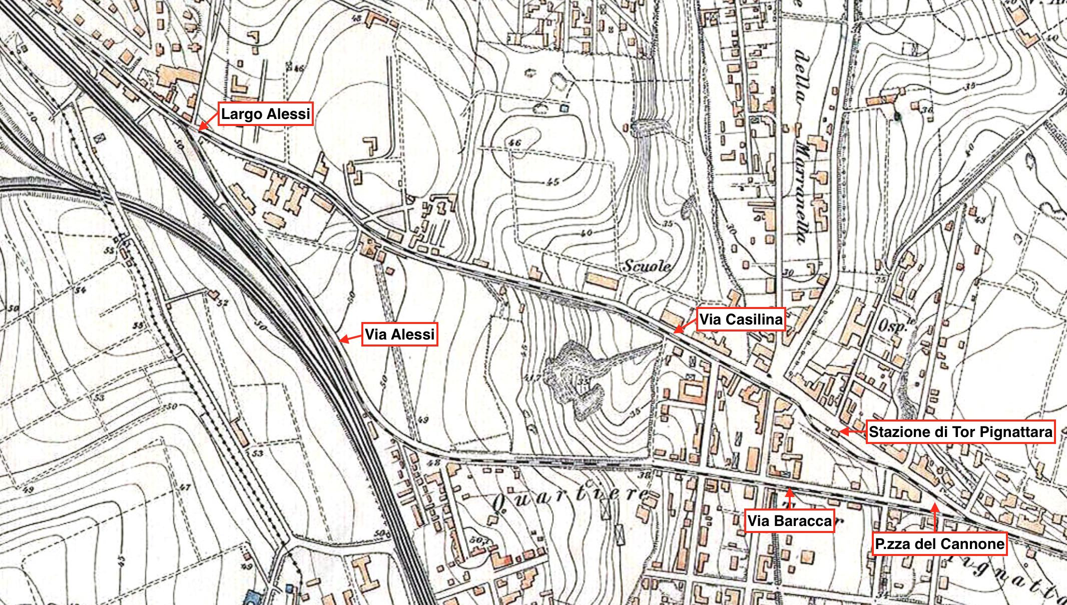 Il tracciato del trenino nel 1924