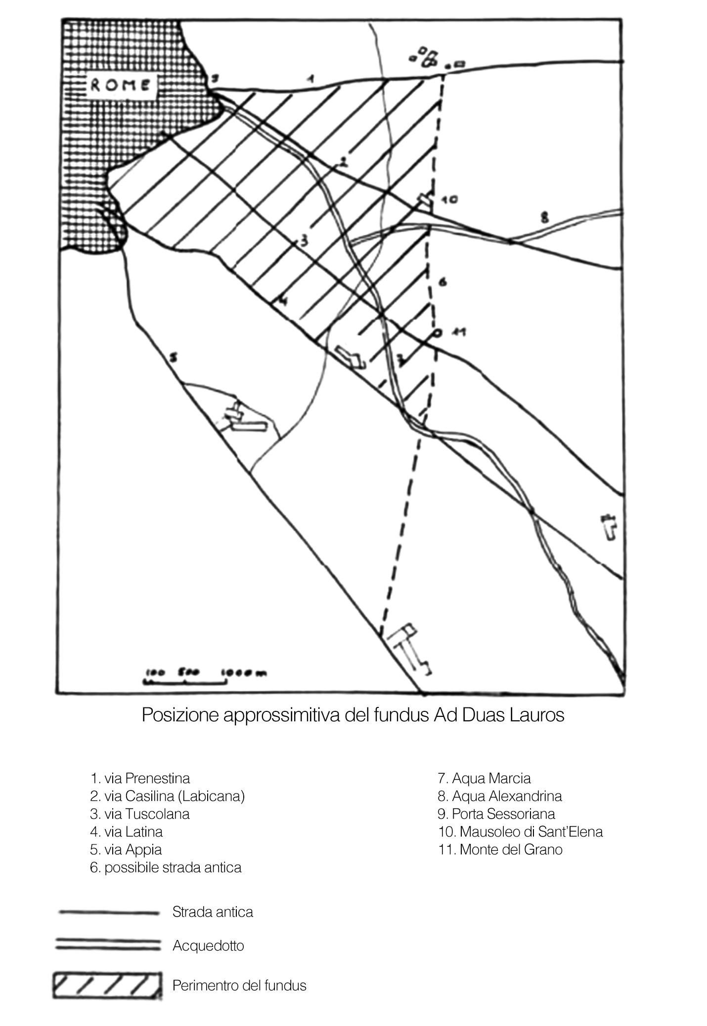 Mappa approssimativa del fudus ad Duas Lauros