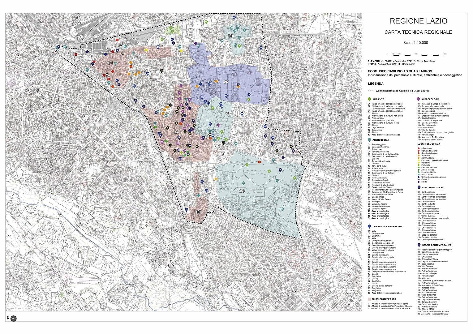 Cartografia con l'individuazione del patrimonio culturale, paesaggistico e ambientale